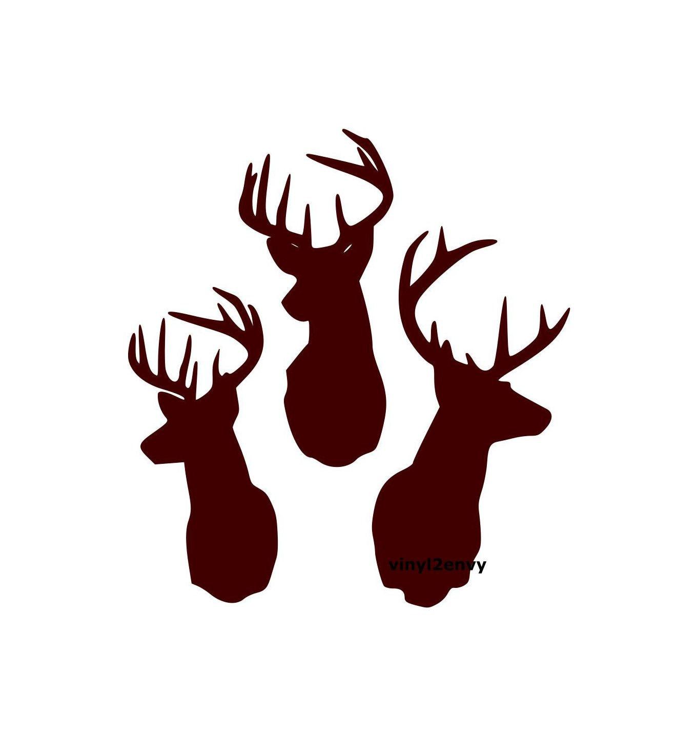 Three deer buck heads wall decal vinyl wall decals wall decor for Deer mural decal