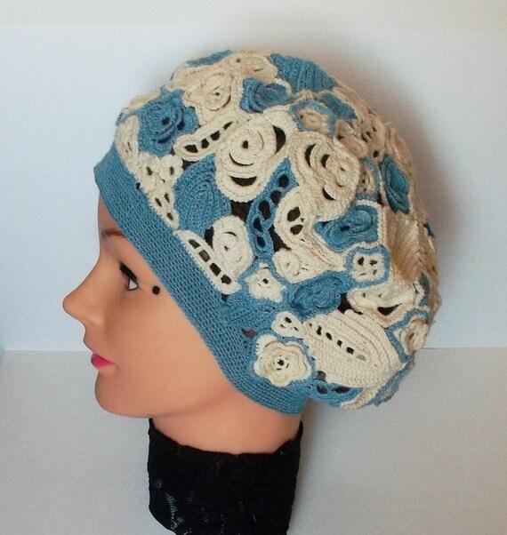 Irish Beret Knitting Pattern : Crochet Hat Beret Blue Vintage style Irish crochet by ...