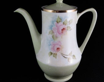 Vintage Hand Painted Coffee Pot Japan Mint Green W/Roses