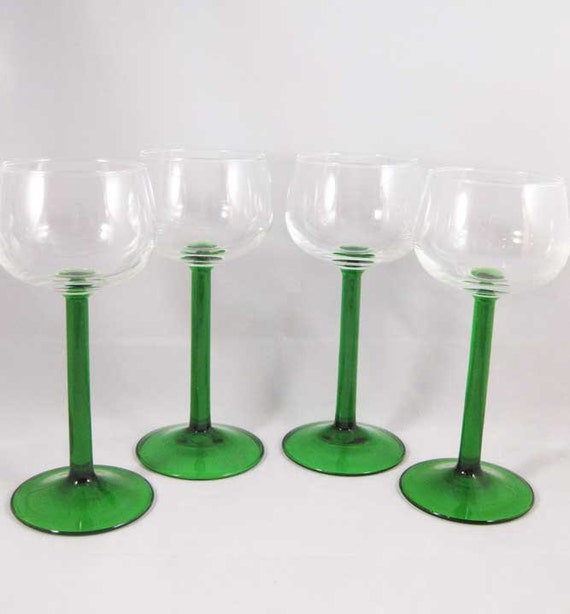 Emerald Green Stemmed Wine Glasses France(4)