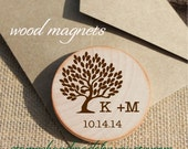 Rustic Wedding Favors Magnets Custom Wood Magnets tree theme personalized save the date made to order 25 pkg with cards