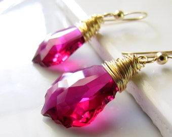 Pink Crystal Earrings, Pink Bridesmaid Earrings, Fuchsia Baroque Crystal Earrings, Pink Ruby and Gold Earrings, Gold Filled, Wire Wrapped