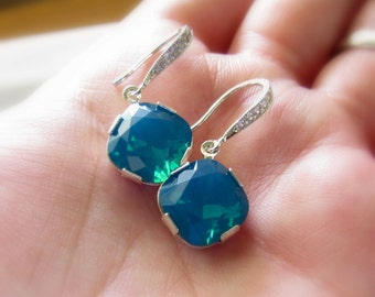 Blue Crystal Earrings, Blue Opal, Blue Bridesmaids Earrings, Cubic Zirconia Drop Earrings, Crystal Drop Earrings, Something Blue Jewelry