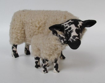 Handcrafted Welsh Beulah Speckled Face Ewe Cheek to Cheek with Lamb