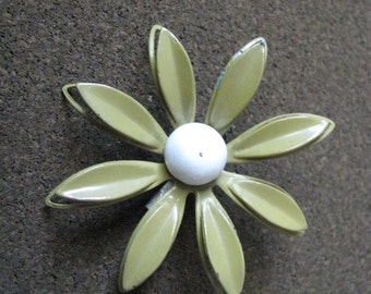 Vintage sage green enamel flower pin brooch with white center