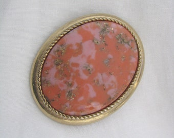 Vintage Oval Gold tone Pin Brooch/ Pendant Coral Color Marbled Center. CORALINE by Sarah Coventry