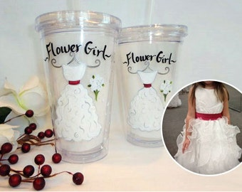 Personalized Flower Girl Tumblers, Flower Girl GIft, Hand Painted Personalized Flower Girl Glasses, Dress Glasses, Bridesmaid Wine Glasses