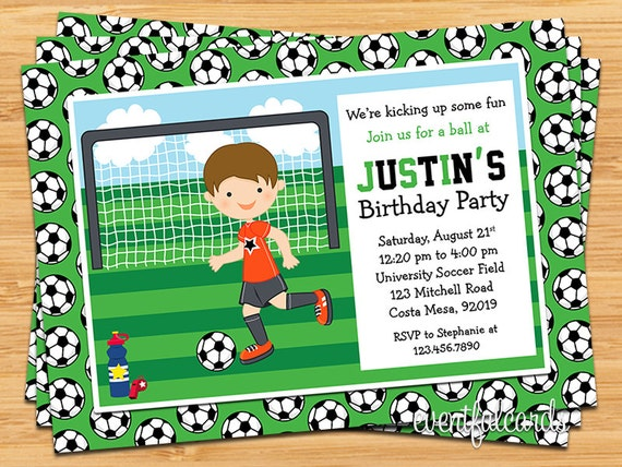 Items similar to Boys Soccer Birthday Party Invitation on Etsy