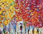 Original oil painting Autumn Colorful Rain Landscape palette knife impasto modern texture fine art impressionism by Karen Tarlton