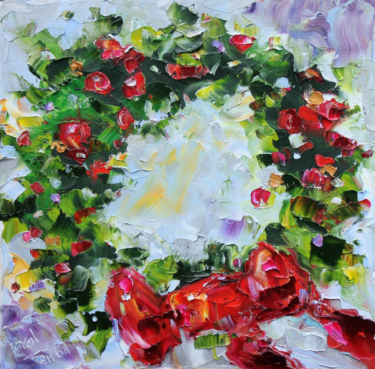 Original oil painting holiday christmas wreath impressionistic