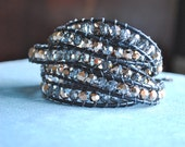 Beaded Leather Wrap Bracelet -Rose gold/grey crystals and black leather