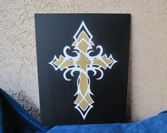 16 x 20 Religious Tribal Cross, Custom Painted Canvas Quote, Hand Painted Quote, Canvas Wall Art, Canvas Wall Quotes, Christian Gift