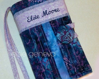 Made to Fit Personalized Purple Blue & Lavnder Batik with Lace Bible or Journal Cover Choose Any Fabric in My Shop or Online