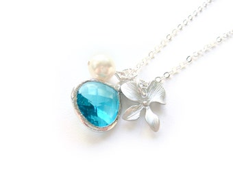Blue Orchid Necklace With Pearl - Sea Blue Necklace - Flower Charm Necklace