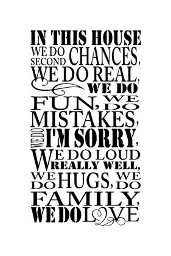 In This House We Do Second Chances Vinyl Wall Decal 13 X
