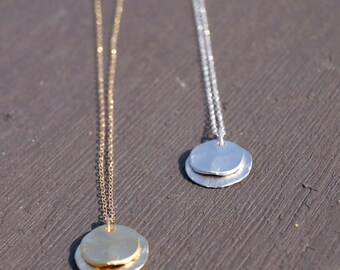 Layered textured round necklace