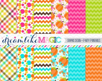Sweet Dashing Pumpkin Patch -Digital Paper Pack for Personal or Commercial Use