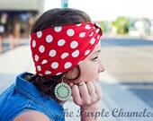 Rosie the Riveter inspired Red and White Polka Dot Headband // Nautical Headband Summer Fashion Pin up Retro Costume