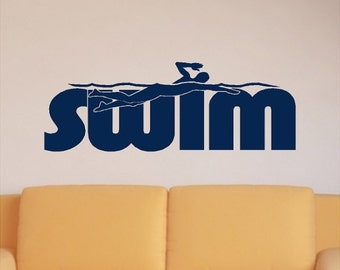 Swim Wall Decal Words Quote Removable Swimming Wall Lettering Sticker (Male)