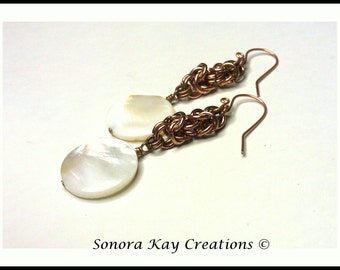 Ready To Ship  Byzantine Chainmaille Earrings in Copper with Shell Accent
