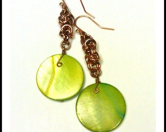Ready To Ship  Byzantine Chainmaille Earrings in Copper with  Chartreuse Shell Accent