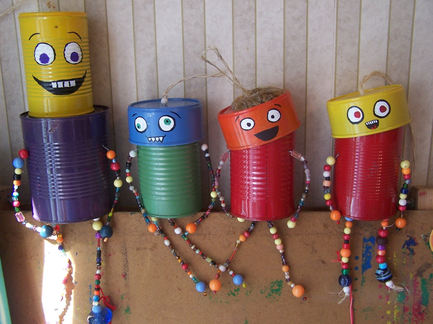 Upcycled tin can man windchime garden art by squiggasquirms for Tin can tin man craft