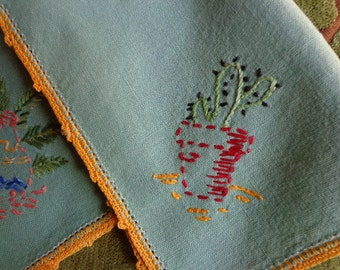 Vintage Napkins with Embroidered Cactus Motif