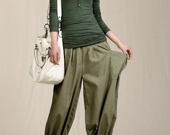 Graceful Casual Bloomers Linen Pants in Army Green(more colour and size choice)-NS11