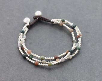 Fancy Jasper Round 3 Strand Silver Bracelet