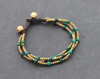 Chrysocolla Round Brass 3 Strand Bracelet