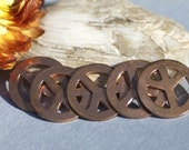Copper 15mm Peace Sign Baby Peace Blank with Hole Cutout for Enameling Stamping Texturing Blanks