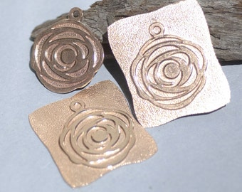 Copper Beautiful Rose II Blank 26mm 20g Cutout for Enameling Metalworking Blanks