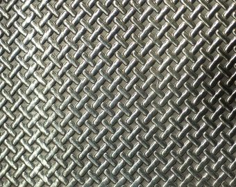 Brass Textured Metal Sheet Tight Weave Pattern 20g - 6 1/8 x 1 7/8 inches
