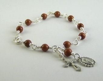 Goldstone Miraculous Medal Rosary Bracelet