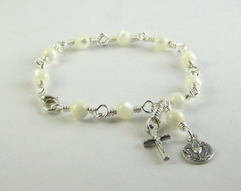 Mother of Pearl Holy Communion Bracelet