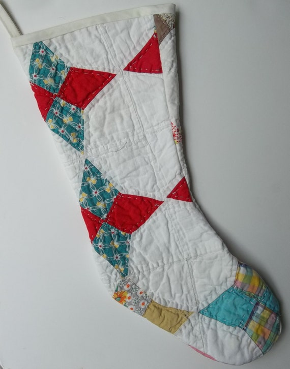 Free Quilt Pattern For Christmas Stocking : Vintage Cutter Quilt Christmas Stocking by MountainMommaDesigns