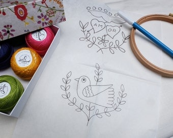 pdf love and bird embroidery pattern - traditional embroidery from Portugal - files with hand embroidery motifs
