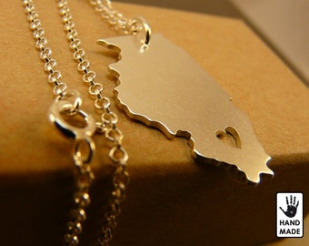 ILLINOIS  state hand cut  sterling silver pendant , sterling silver chain