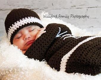 Crochet newborn football cocoon set