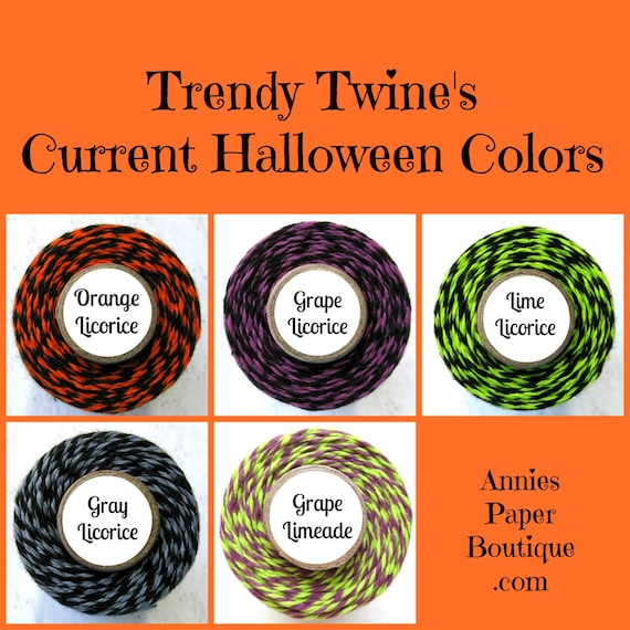Purple and Black, Lime and Black Bakers Twine by Trendy Twine - Halloween Grape Licorice & Lime Licorice