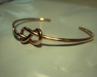 14kt solid gold infinity knot cuff bracelet, 12g rose or yellow, handcrafted, stylish, hammered band by request