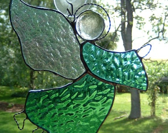 Stained Glass Teal Green  Angel Sun Catcher