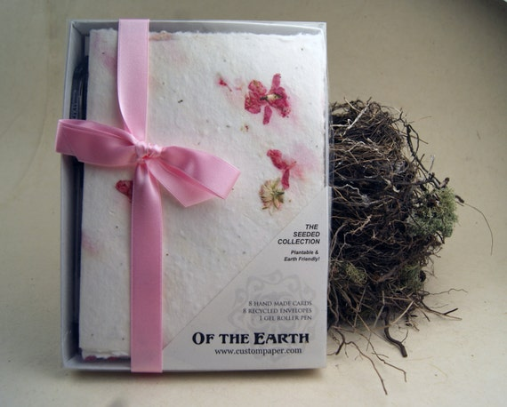 Pink Larkspur and Wildflower Seeds Boxed Handmade Paper Note Card Stationery Set