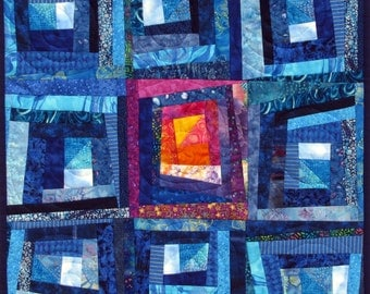 Wall Hanging Abstract Quilt Art Wonky Log Cabin Blue Patchwork Limited Edition
