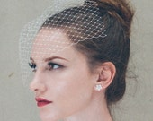 Wedding veil - bridal birdcage veil in ivory net