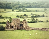 Ireland Photography - stone abbey ruins Tipperary green farmland monks building cattle sheep 8x12