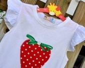 Girls Strawberry T-shirt Very Berry Applique T-Shirt Strawberry t-shirt