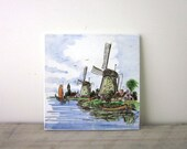 Vintage Tile from Holland with Windmills