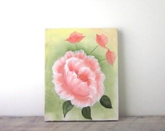 Vintage Oil Painting Pink Flower