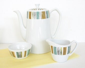Mid century coffee pot, cream and sugar set by Alfred Meakin, England, color block, modern, Glo white